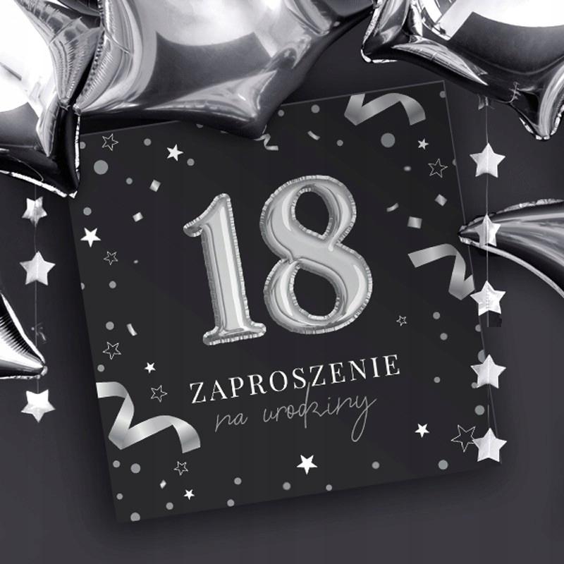 Zaproszenia Na 18 Urodziny Czarno Srebrne 10szt Invitations 18th Birthday Birthday