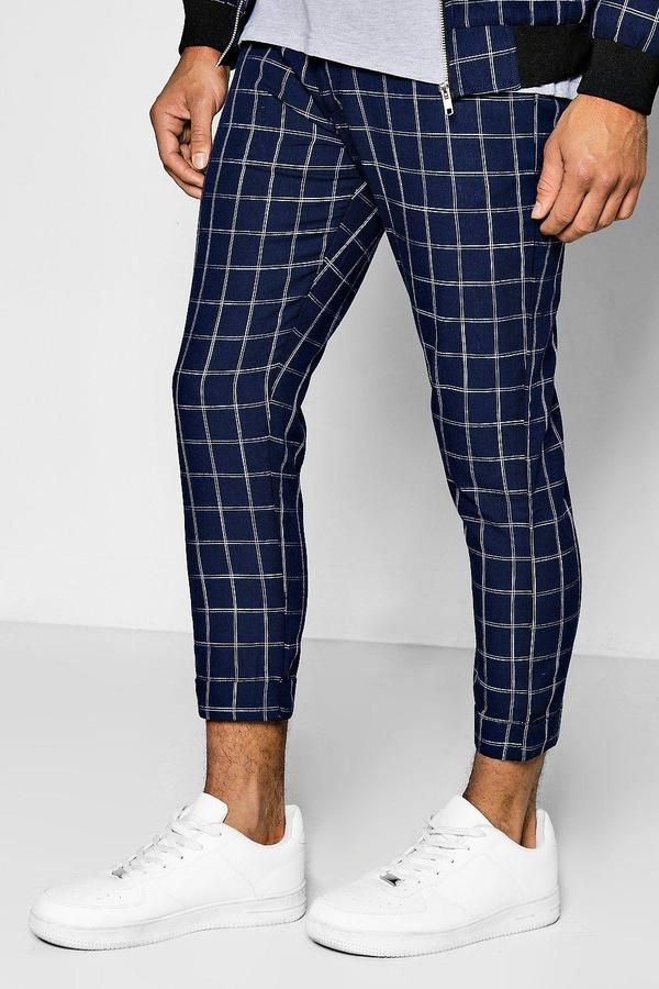 0f2fd716dffd boohoo Windowpane Check Cropped Tailored Trousers Klick to see the Price # men #fashion #male #style #menfashion #menwear #menstyle #clothes #boots  #man #ad