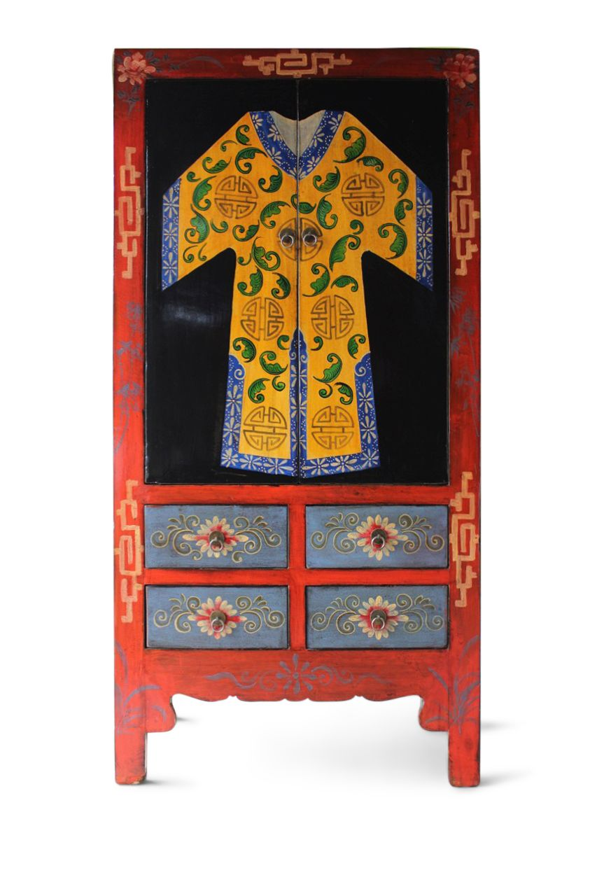 Kimono Schrank aus Ulmenholz - handbemalt aus China - Chinesischer ...