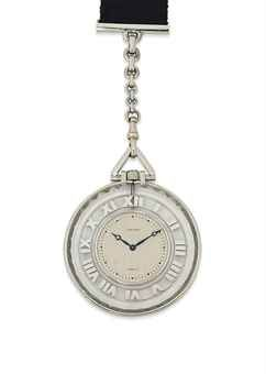 AN ART DECO ROCK CRYSTAL POCKET WATCH, BY CARTIER