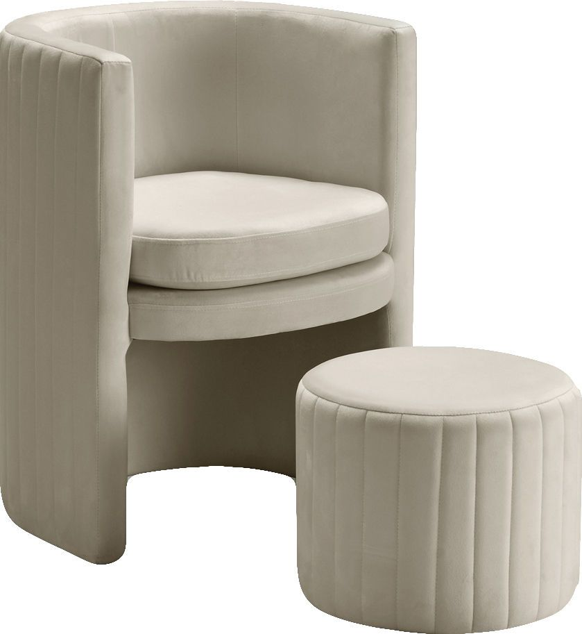 Selena Cream Chair 555 Meridian Furniture Chairs In 2020 Barrel Chair Chair And Ottoman Set Chair And Ottoman