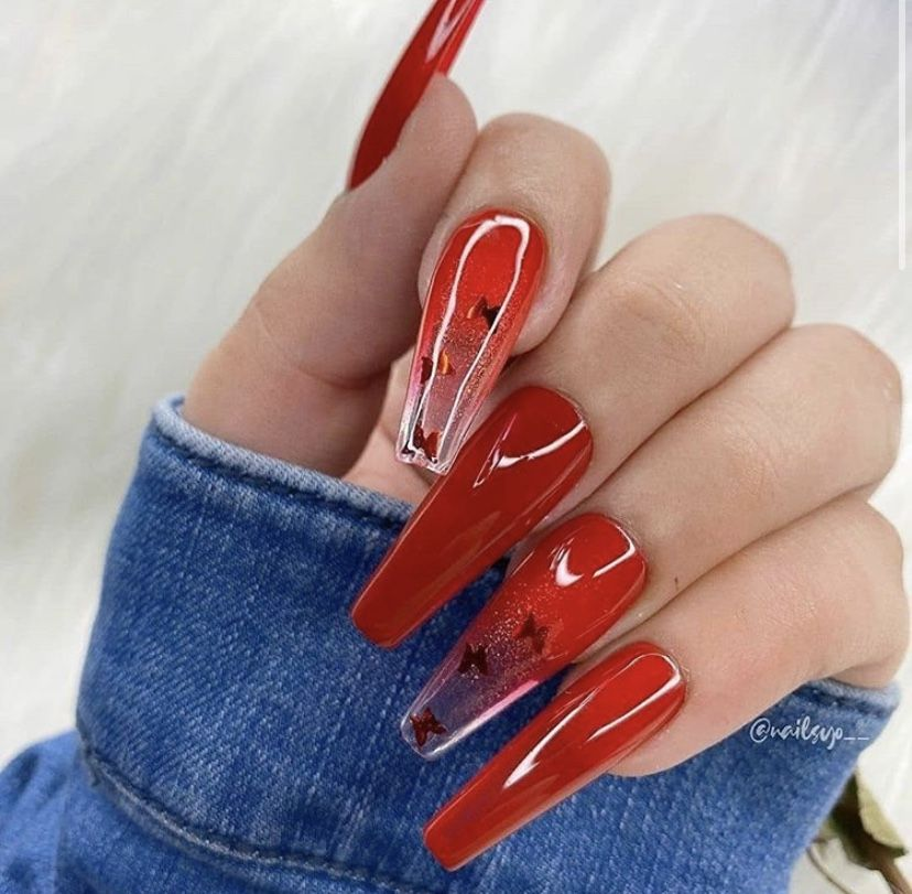 Red Butterflies In 2020 Red Acrylic Nails Acrylic Nails Best Acrylic Nails