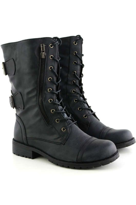 Black Combat Boots Women - Cr Boot