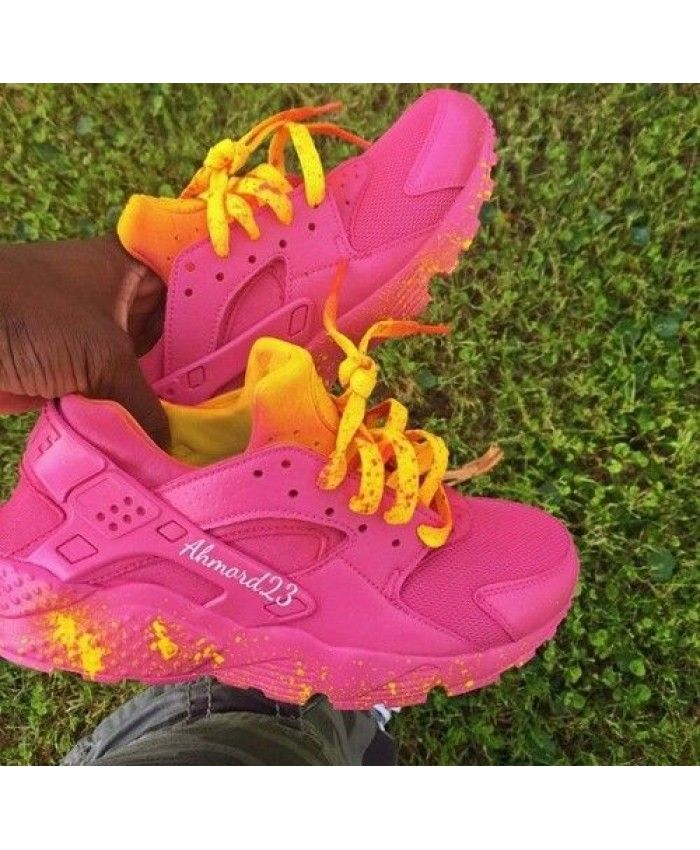c7b1acc9ad0bf Nike Air Huarache Custom Peach Pink Yellow Trainer Different from Nike  other styles of shoes