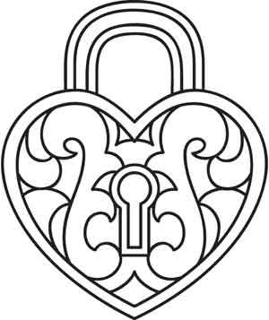 Lock & Key coloring page | 357x300