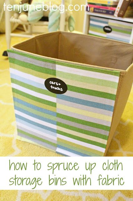 How to Spruce Up Cloth Storage Bins with Fabric... such an easy and cheap project! #organization #DIY