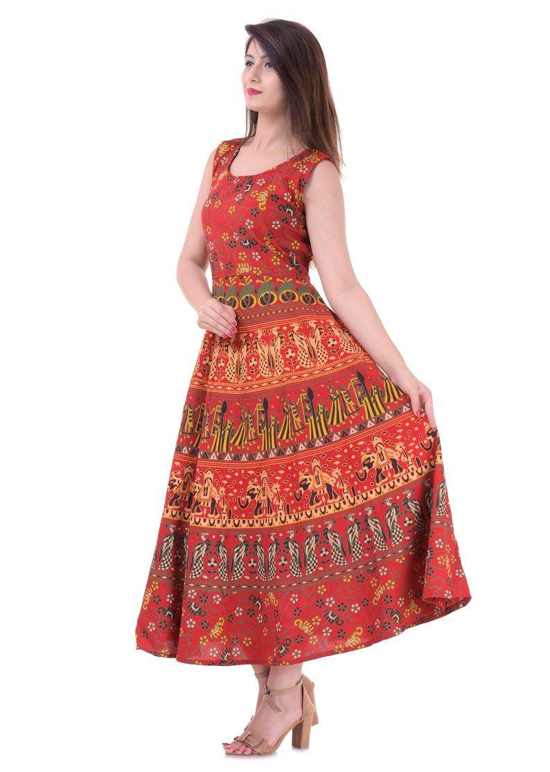 Indian Cotton Midi Kurti Dress Red Elephant Design Multi Color Etsy Red Dress Attractive Dresses Beautiful Dresses [ 1113 x 794 Pixel ]