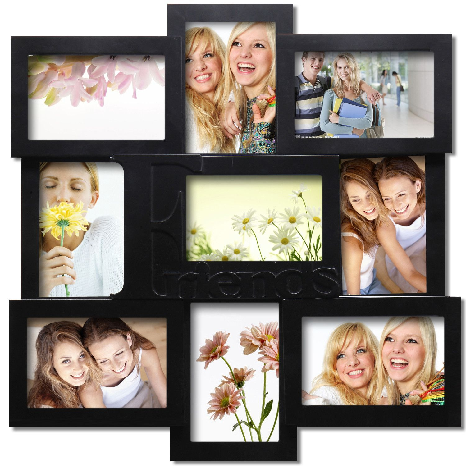 furnistar decorative black wood friends wall hanging collage picture photo frame pf0310