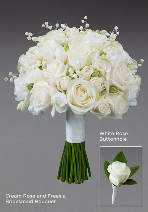 Interflora Vera Wang Wedding Collection Cream Rose And Freesia Bridesmaid Bouquet Images