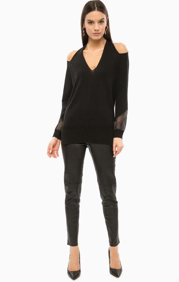Черный джемпер с открытыми плечами 72G523-5292Z-A996 , купить в интернет-магазине. Цена: 11040