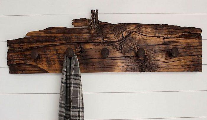 porte manteau fait maison crochet la main objets d co diy pinterest perchero r stico. Black Bedroom Furniture Sets. Home Design Ideas