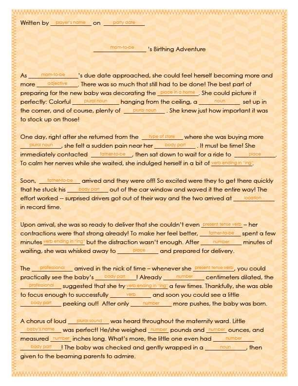 baby shower shower party bridal shower baby shower mad libs ring