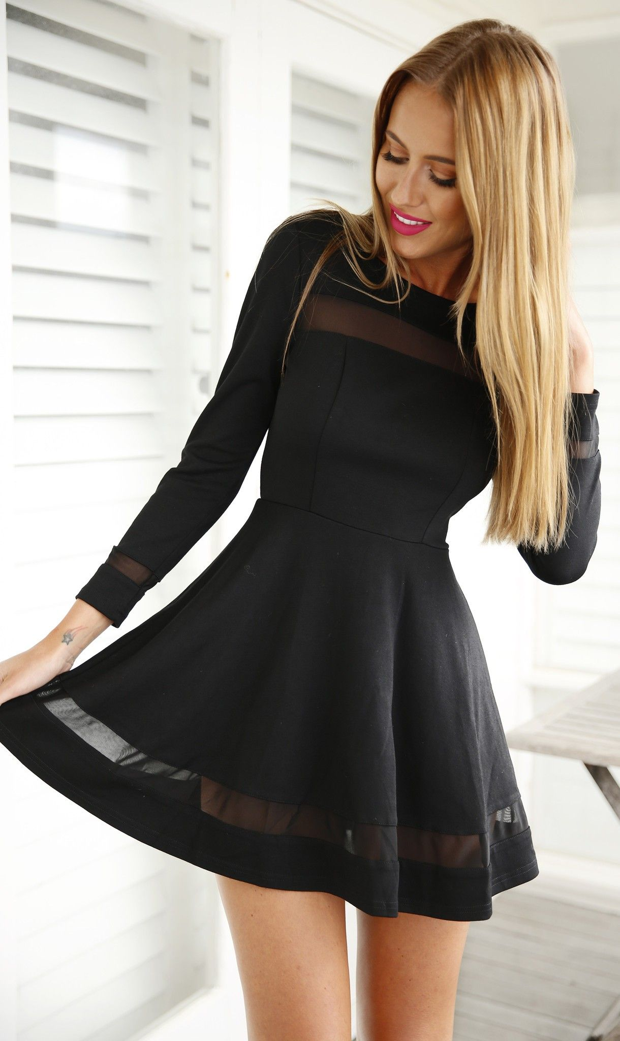 d4f3d81a45 Black Mesh Panel Skater Dress in 2019