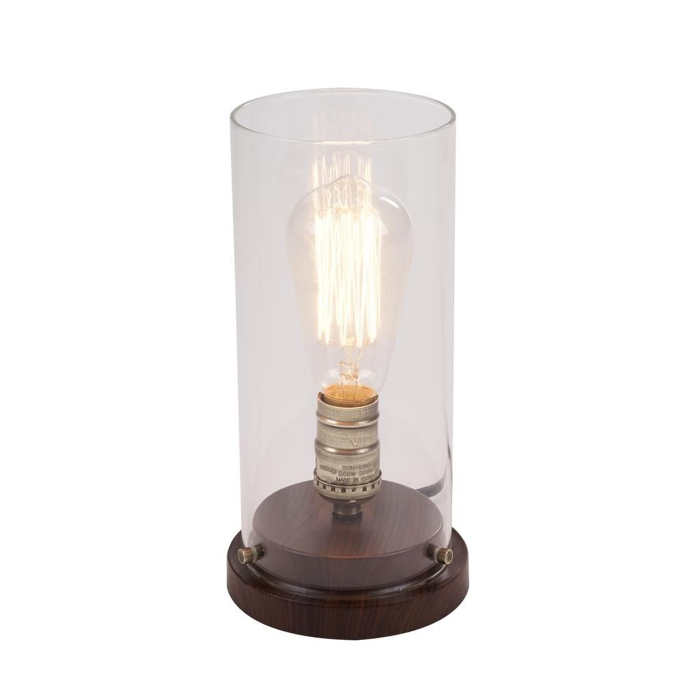 25 Hampton Bay 10 In Faux Wood Vintage Uplight Lamp Touch Lamp Home Depot Lamp Faux Wood Bronze Table Lamp