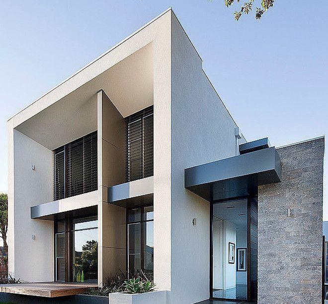 Diseños De Casas Modernas Disenos Pequenas En Mexico: Diseño De Casa Moderna En Esquina, Fachada E Interiores