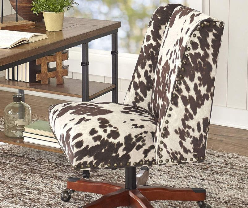 Cow print square back office chair with nailhead trim