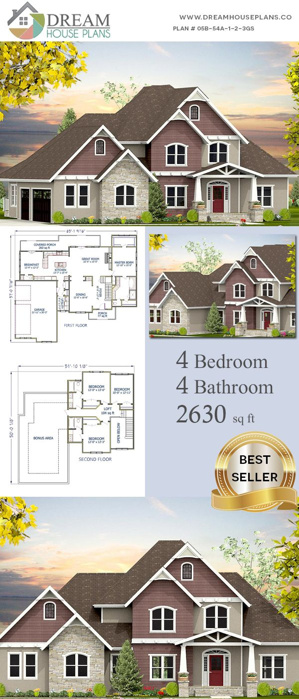 Dream House Plans: Best Traditional 4 Bedroom, 2630 Sq. Ft ...