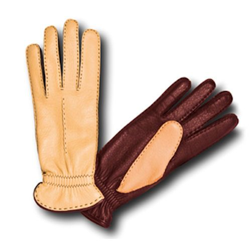 2e5685e9faf0 Pineider Women s Leather Gloves - Brown Yellow Deerskin - elegant two tone  with a cashmere lining