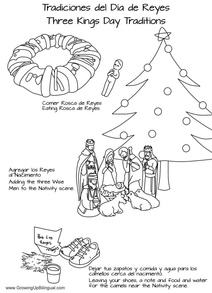 Spanish coloring pages christmas story ~ Bilingual coloring pages. Día de los Reyes : Three Kings ...