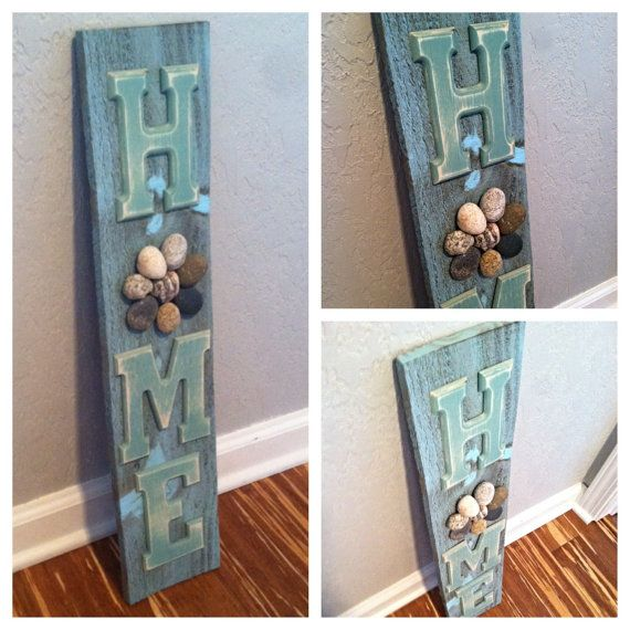 Ready To Ship-Reclaimed Wood HOME Sign,Rustic Home Decor, Reclaimed Wood,  Rock Flowers, Rock Art, Wall Decor, Wall Hanging, Home Decor - Ready To Ship-Reclaimed Wood HOME Sign,Rustic Home Decor