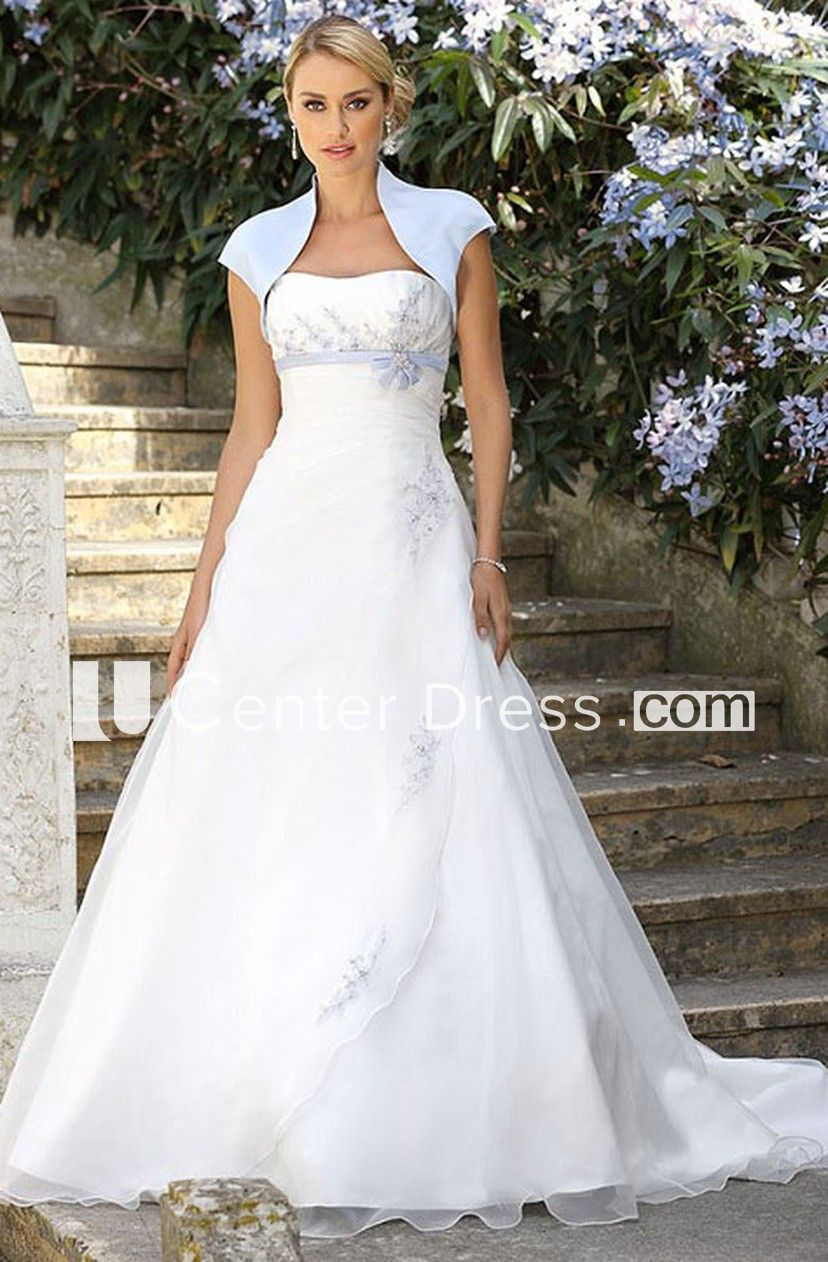Strapless long bowed cape chiffon wedding dress with beading robe