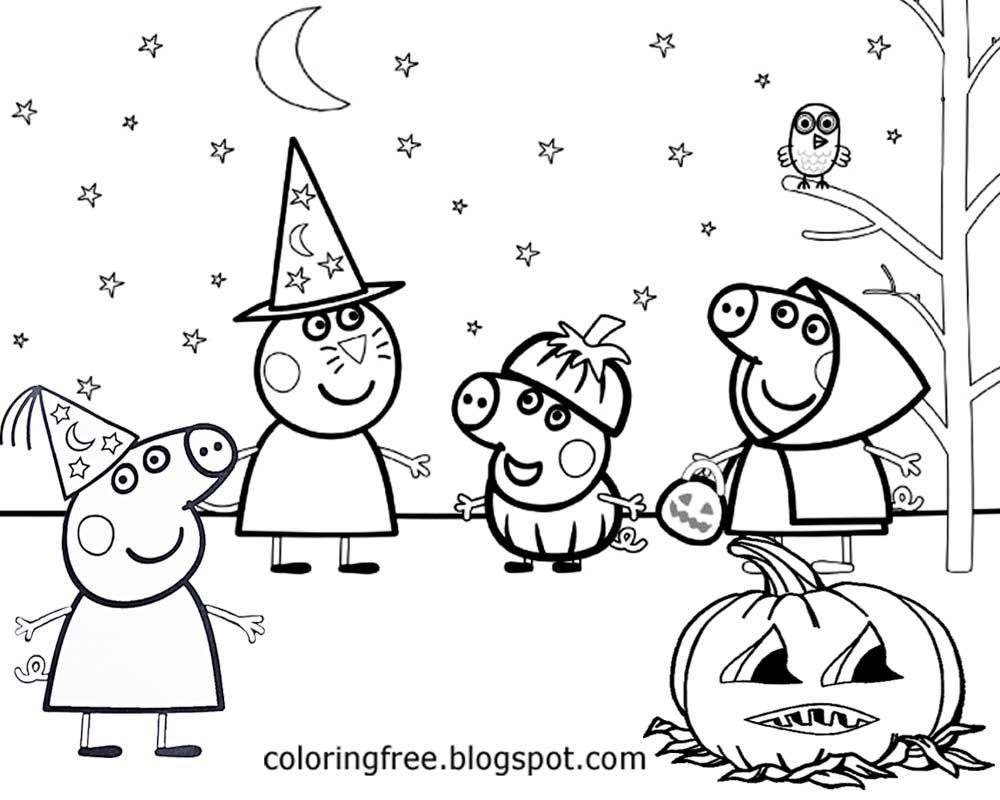 Happy Halloween Peppa Pig Free Printable Coloring Pages