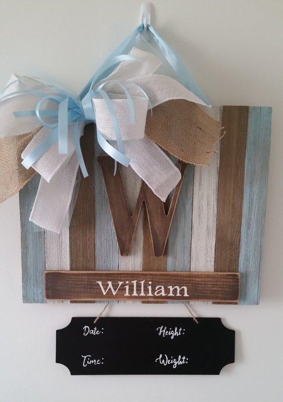 Baby Boy Birth Announcement Door Hangers : birth, announcement, hangers, Rustic, Birth, Announcement, Hospital, Hanger, Hangers,, Nursery, Decor,