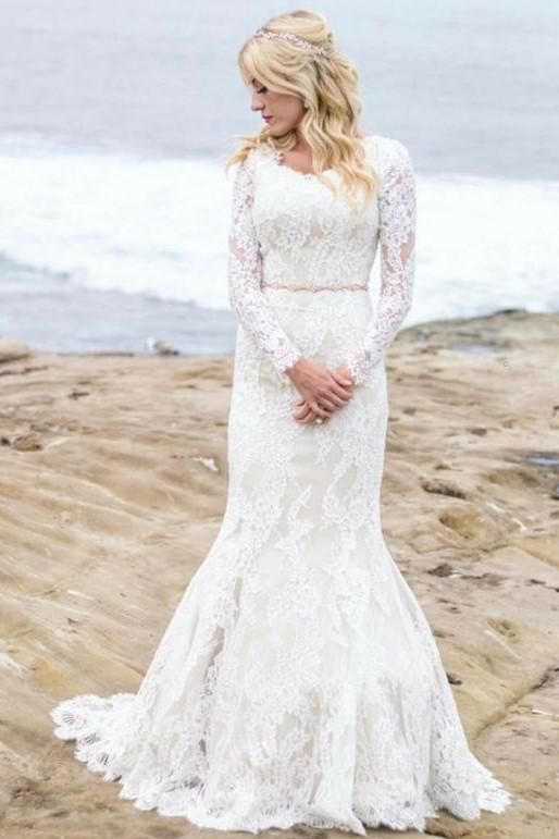 Mermaid Winter Wedding Dresses with Lace Long Sleeves