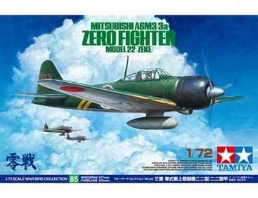 The Tamiya Mitsubishi A6M3 (Zeke) 3a Zero Fighter Model 22 in 1/72 scale from the Tamiya plastic aircraft model kits range accurately recreates the real life Japanese fighter aircraft flown during World War II.