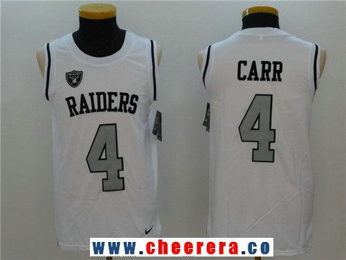 e76f9b6f Men's Oakland Raiders #4 Derek Carr White Color Rush 2017 Vest Stitched NFL  Nike Tank Top Jersey