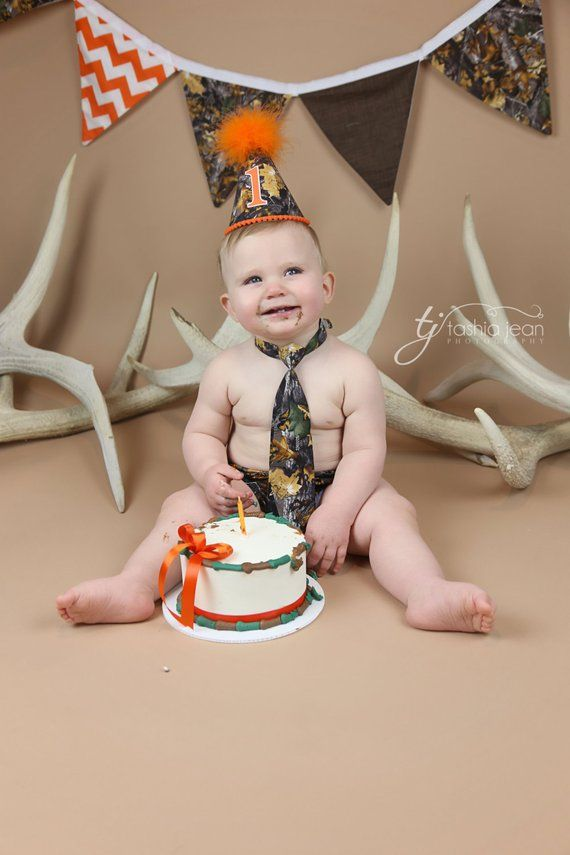 Camo First Birthday Outfit Cake Smash Diaper Cover Necktie And Party Hat In