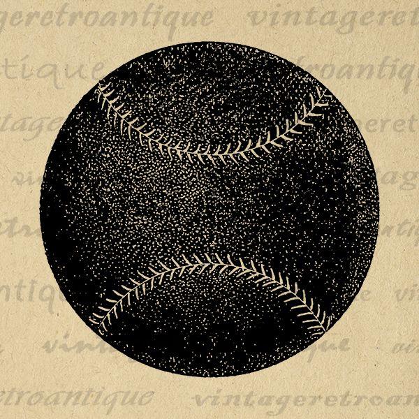Baseball Printable Digital Graphic Antique Download Image Vintage Clip Art Jpg Png Eps Print 300dpi