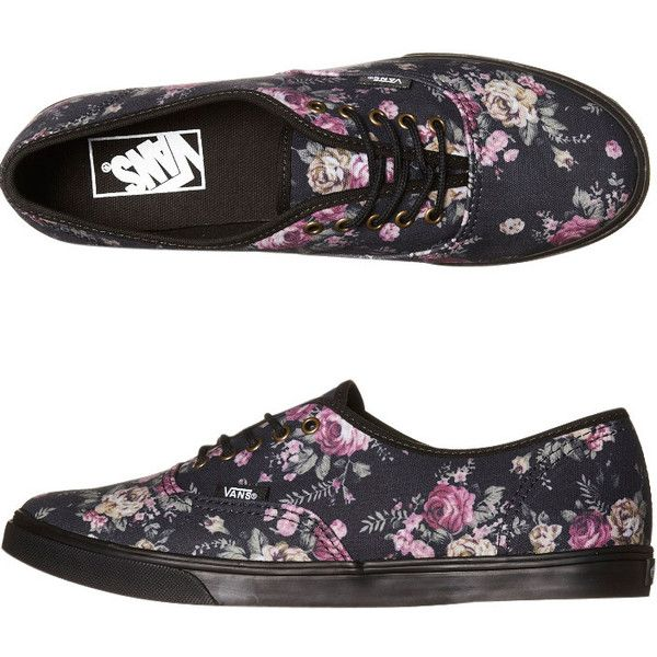 VANS WOMENS AUTHENTIC LO PRO SHOE FLORAL BLACK BLACK ($80) ❤ liked on  Polyvore