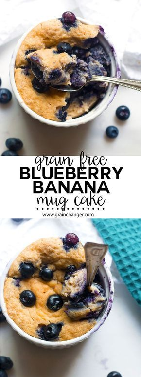 Grain-Free Blueberry Banana Breakfast Mug Cake #mugcake