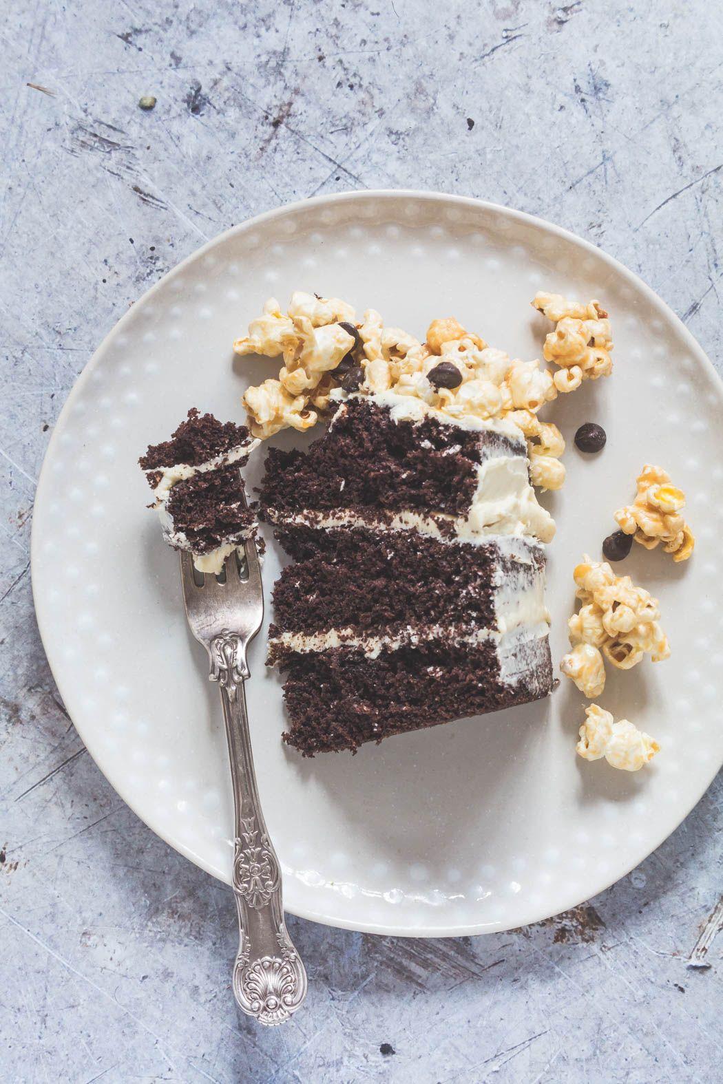 Chocolate Cake With Caramel Chip Popcorn Chunks And A Vanilla Ercream Icing