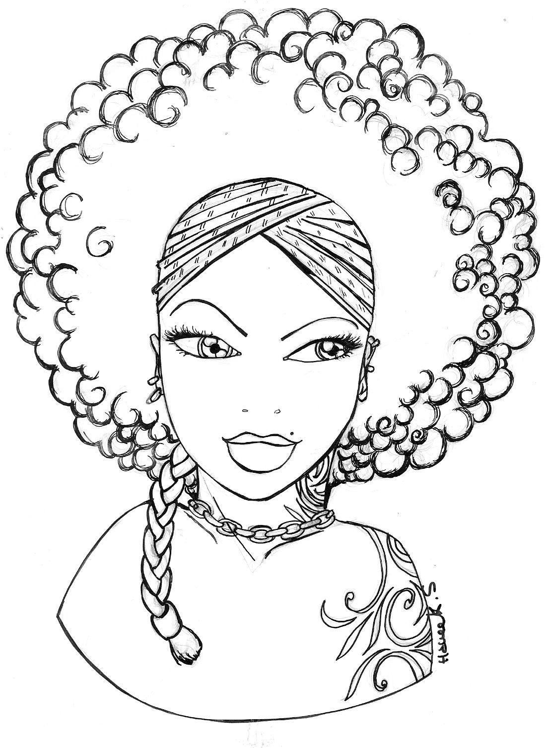 Coloring pages hair - Shondra Coloring Bookscolouringcoloring Pagesdiy Wall Artnatural Hair Cartoonjournals