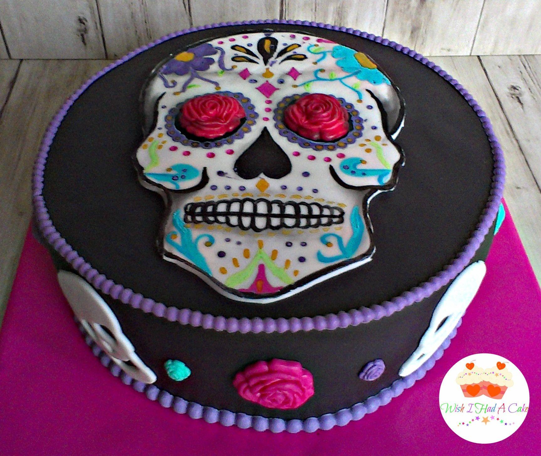 Super Sugar Skull Cake By Wish I Had A Cake Cake Sugar Skull Cakes Funny Birthday Cards Online Eattedamsfinfo