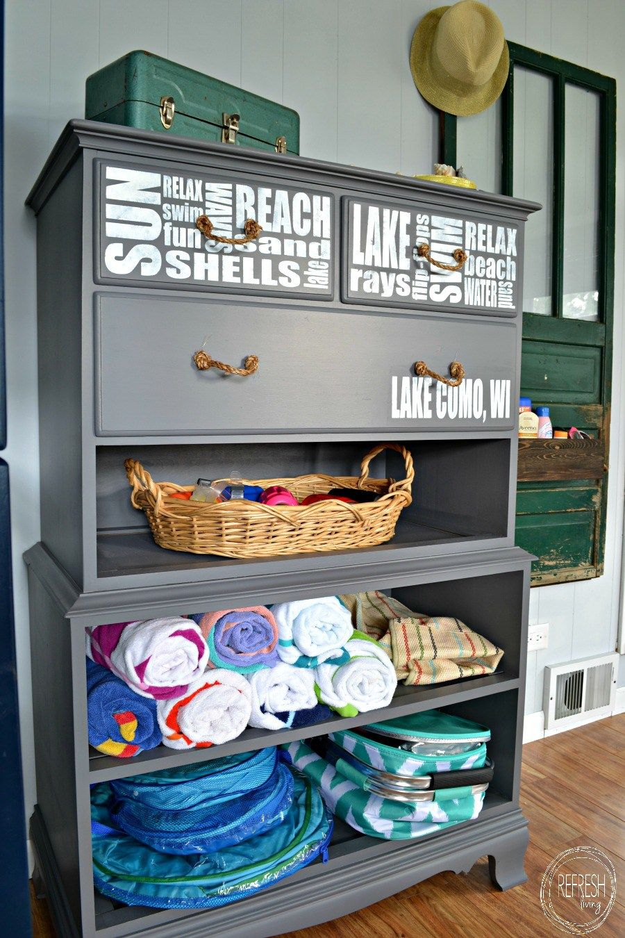 Refinished Dresser Without Drawers Into Beach Storage Refresh Living