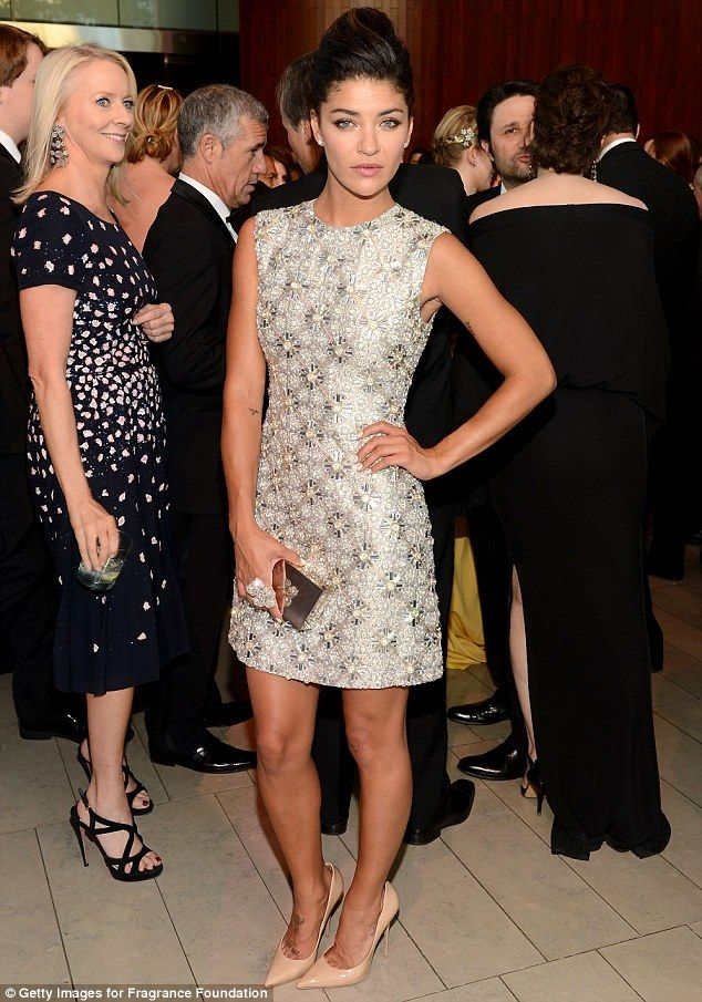 She sparkles! Jessica Szohr wore a shiny frock and nude heels to the event