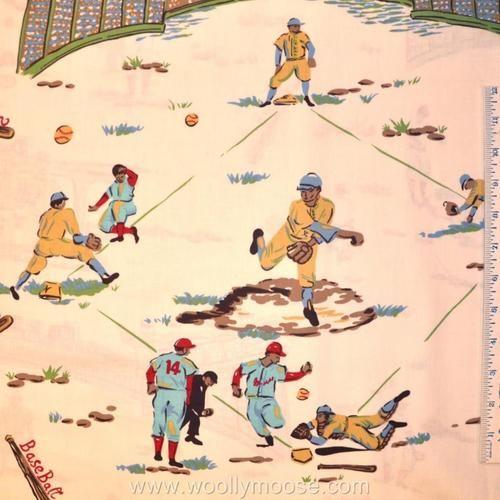HALF Yard ROBERT KAUFMAN Barn Dandy's BASEBALL FIELD Retro Quilt ... : baseball quilt fabric - Adamdwight.com