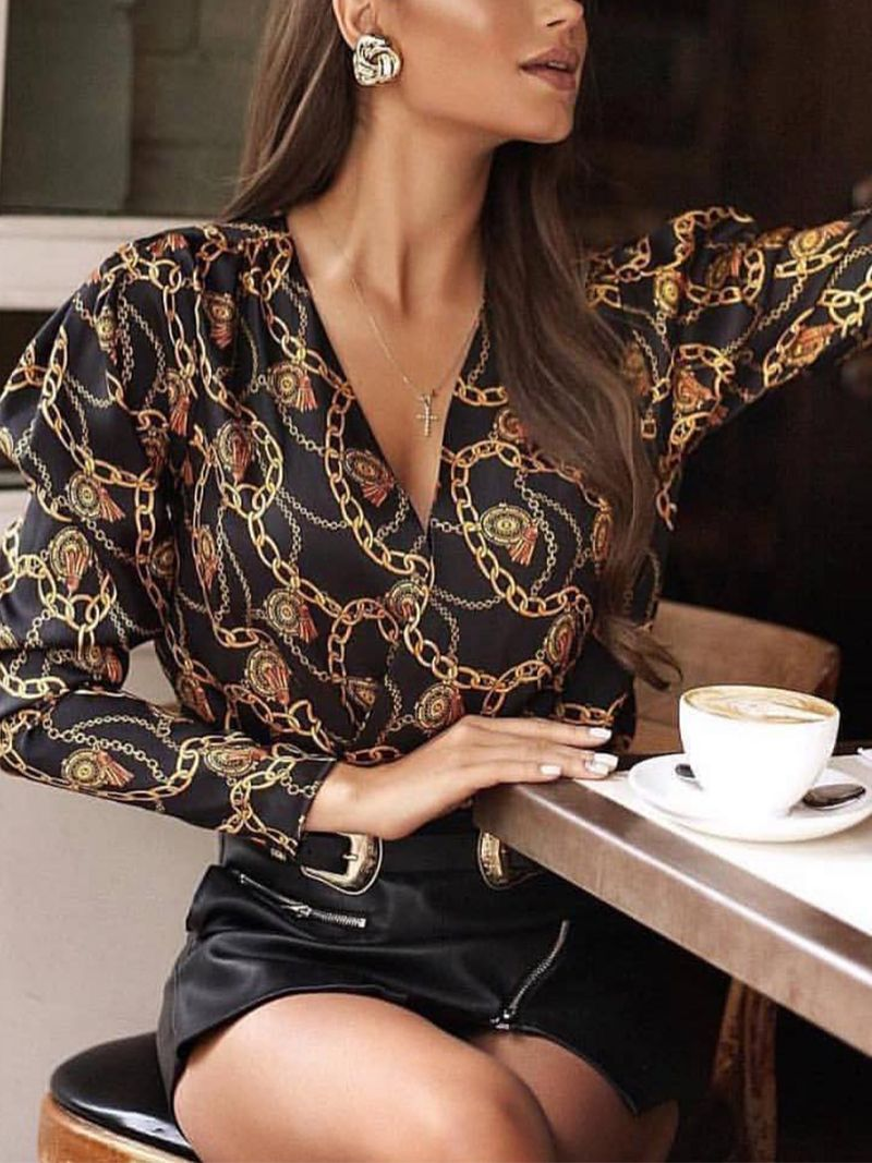 Fashion V Neck Chain Printed Colour Shirt
