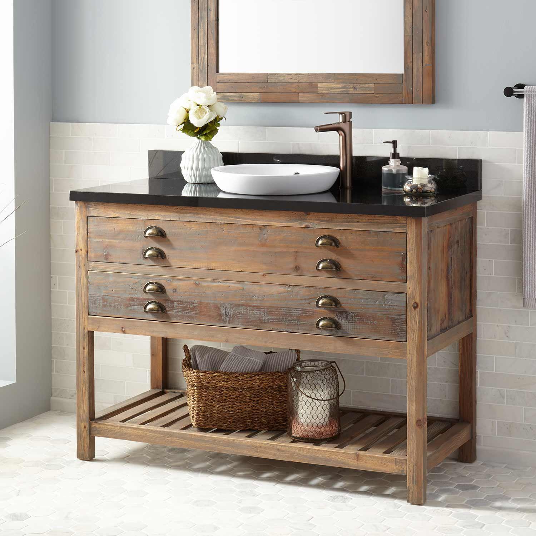 48 Benoist Reclaimed Wood Console Vanity For Semi Recessed Sink Gray Wash Pine Bat Reclaimed Wood Vanity Reclaimed Wood Bathroom Vanity Vessel Sink Vanity