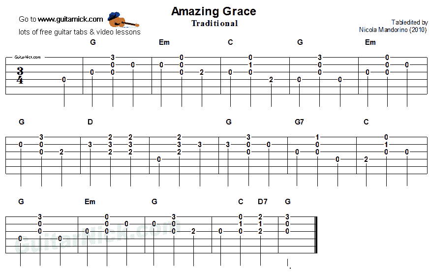 Amazing Grace Easy Guitar Chords Tab Guitar Pinterest Easy