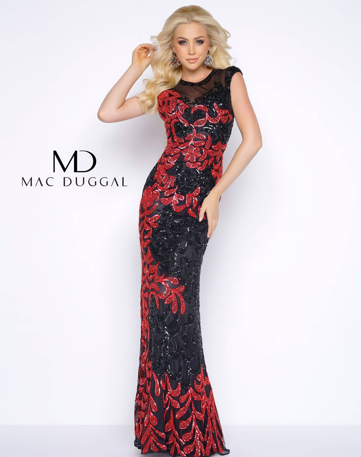 Floor length sheer illusion sweetheart neckline fully sequined