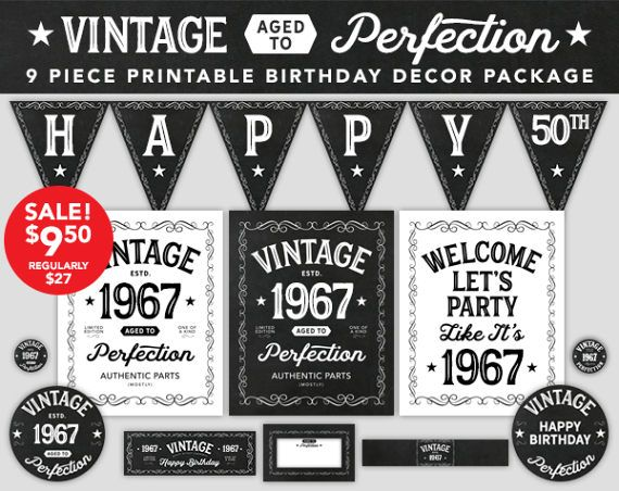 New Vintage Made in 1970 Banner Flag 50 50th Birthday Party Decoration Sign