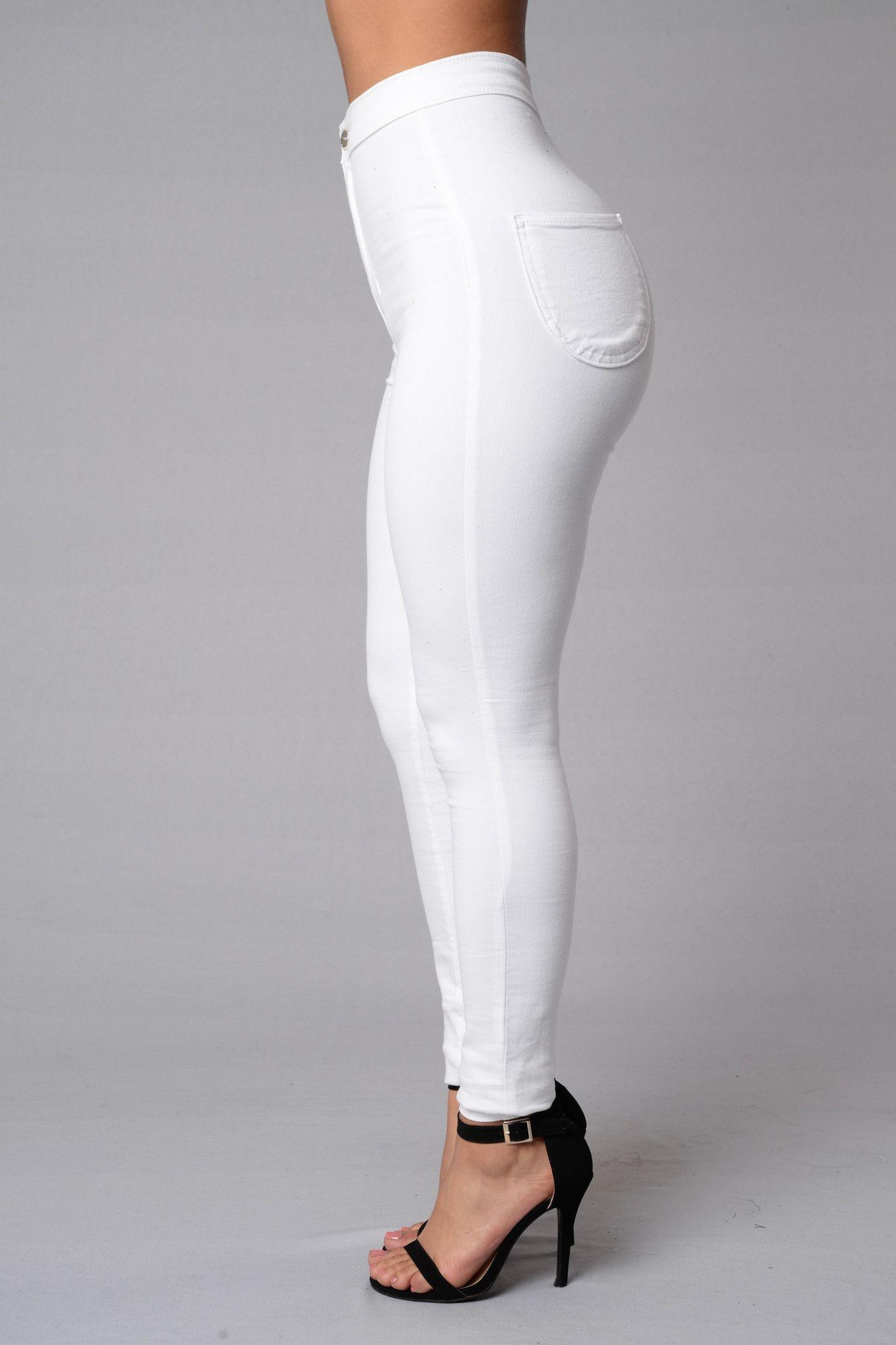 Super High Waist Denim Skinnies - White