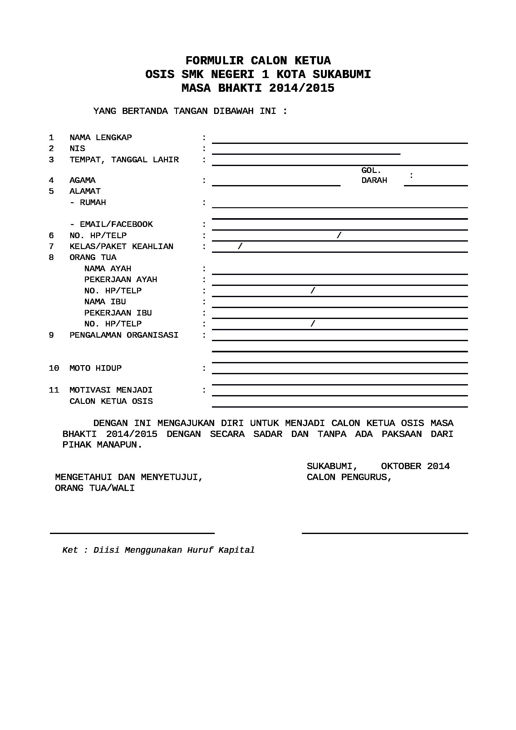 Hasil gambar untuk contoh formulir pendaftaran osis ...