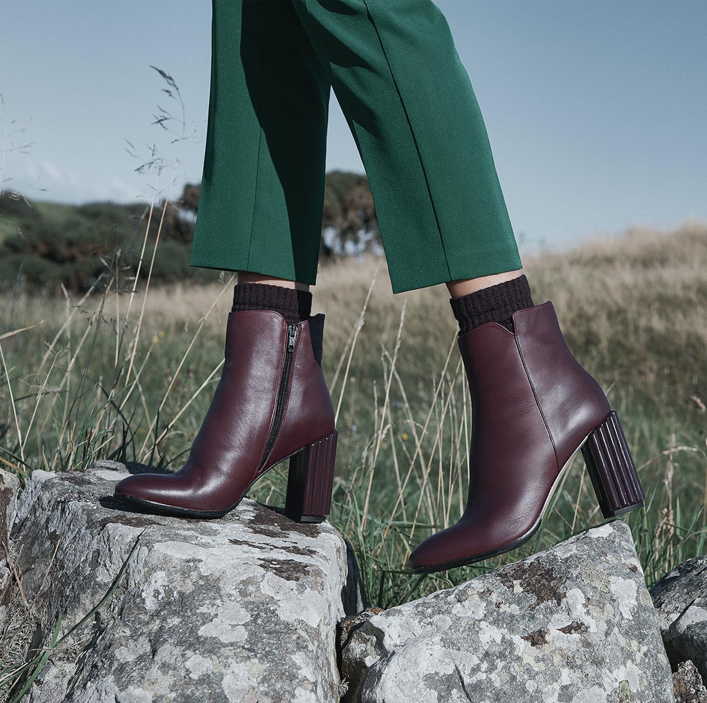 Merlot Kayla leather ankle boots | Sale