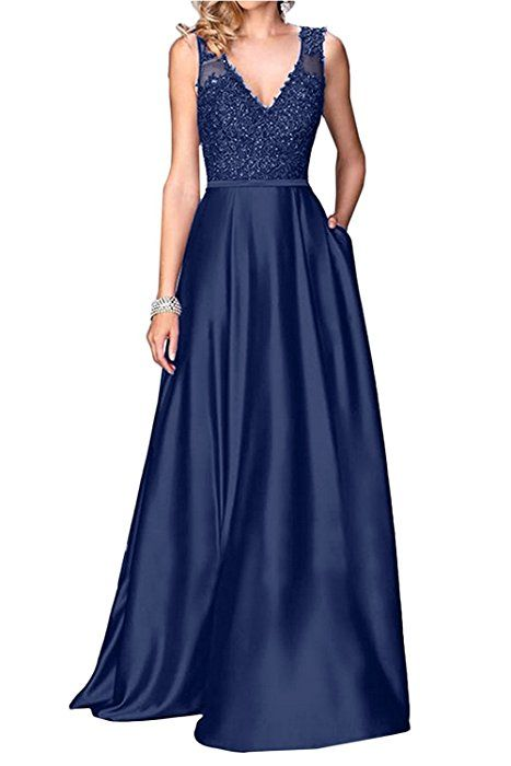 c36fdc3271 Little Star Long Grape Prom Dresses 2017 For Women V Neck Satin Formal  Evening Gowns A Line Bridesmaid Dress Party Ball Gown With Lace at Amazon  Women s ...
