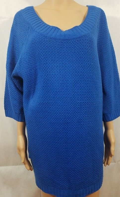 c07d3ff297 Avenue Sweater Blue Knit Pullover Chunky Tunic Wide Boat Neck 3 4 Sleeve  Size 14  Avenue  BoatNeck